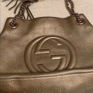 Gucci Bags - Gucci Soho Metallic Chain Medium Tote Gold Beige